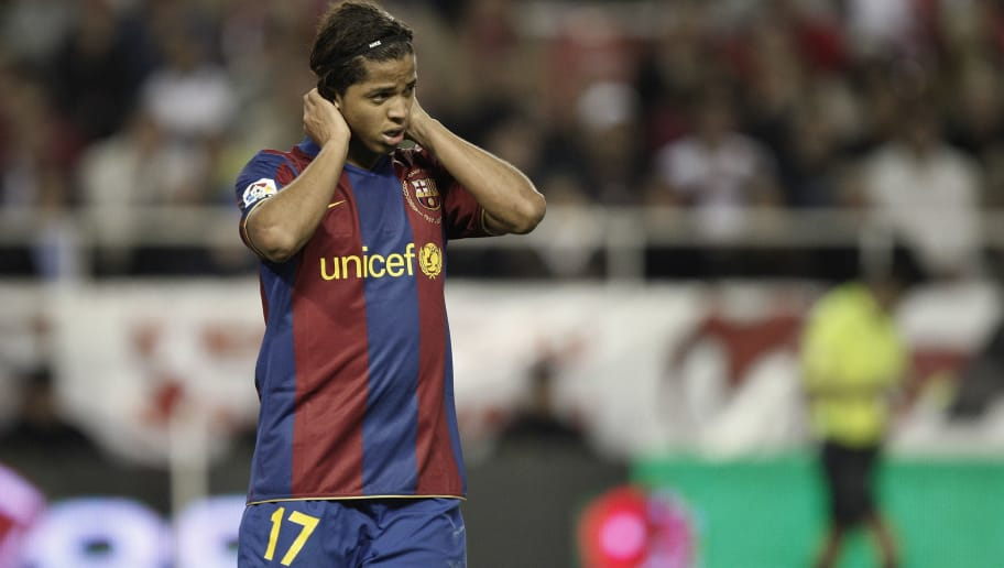 54d1df47a5f SEVILLE, SPAIN - FEBRUARY 09: Giovanni Dos Santos of Barcelona reacts at  the end