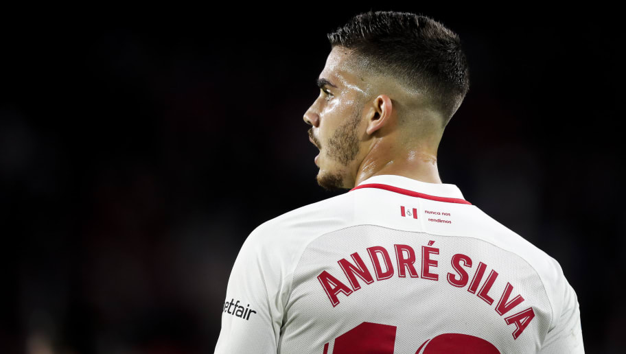 SEVILLA, SPAIN - NOVEMBER 11: Andre Silva of Sevilla FC during the La Liga Santander  match between Sevilla v Espanyol at the Estadio Ramon Sanchez Pizjuan on November 11, 2018 in Sevilla Spain (Photo by David S Bustamante/Soccrates /Getty Images)