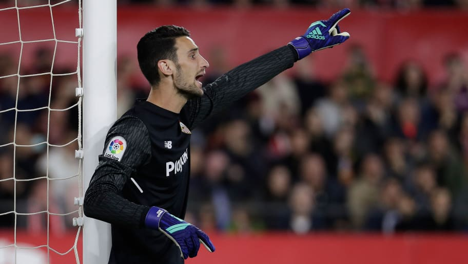SEVILLA, SPAIN - MARCH 31: Sergio Rico of Sevilla FC  during the La Liga Santander  match between Sevilla v FC Barcelona at the Estadio Ramon Sanchez Pizjuan on March 31, 2018 in Sevilla Spain (Photo by David S. Bustamante/Soccrates/Getty Images)