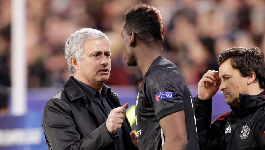 SEVILLA, SPAIN - FEBRUARY 21: (L-R) coach Jose Mourinho of Manchester United Paul Pogba of Manchester United  during the UEFA Champions League  match between Sevilla v Manchester United at the Estadio Ramon Sanchez Pizjuan on February 21, 2018 in Sevilla Spain (Photo by Jeroen Meuwsen/Soccrates/Getty Images)