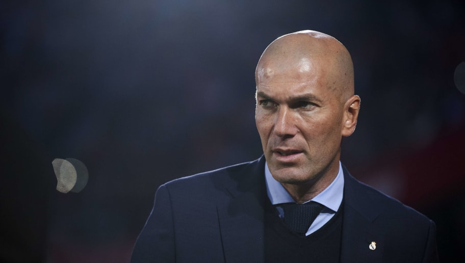 SEVILLE, SPAIN - MAY 09:  Head coach Zinedine Zidane of Real Madrid looks on prior to the start the La Liga match between Sevilla FC and Real Madrid at Ramon Sanchez Pizjuan stadium on May 9, 2018 in Seville, Spain.  (Photo by Aitor Alcalde/Getty Images)