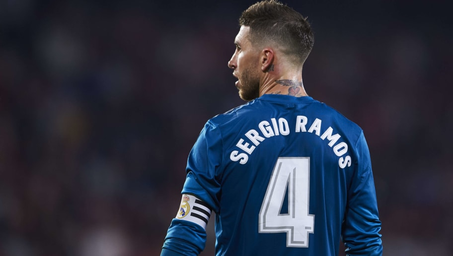 SEVILLE, SPAIN - MAY 09:  Sergio Ramos of Real Madrid CF reacts during the La Liga match between Sevilla FC and Real Madrid at Ramon Sanchez Pizjuan stadium on May 9, 2018 in Seville, Spain.  (Photo by Aitor Alcalde/Getty Images)