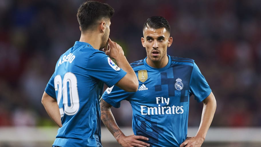 SEVILLE, SPAIN - MAY 09:  Marco Asensio and Dani Ceballos of Real Madrid CF reacts during the La Liga match between Sevilla FC and Real Madrid at Ramon Sanchez Pizjuan stadium on May 9, 2018 in Seville, Spain.  (Photo by Aitor Alcalde/Getty Images)