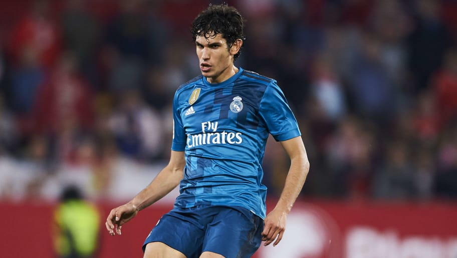 SEVILLE, SPAIN - MAY 09:  Jesus Vallejo of Real Madrid CF controls the ball during the La Liga match between Sevilla FC and Real Madrid at Ramon Sanchez Pizjuan stadium on May 9, 2018 in Seville, Spain.  (Photo by Aitor Alcalde/Getty Images)