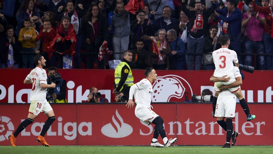 SEVILLE, SPAIN - MAY 09:  Gabriel Mercado of Sevilla FC celebrates after scoring his team's third goal during the La Liga match between Sevilla FC and Real Madrid at Ramon Sanchez Pizjuan stadium on May 9, 2018 in Seville, Spain.  (Photo by Aitor Alcalde/Getty Images)