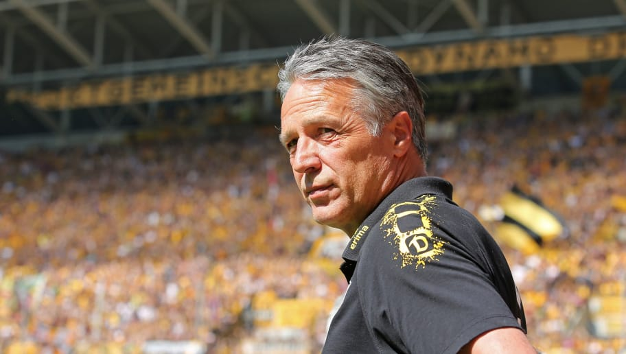 DRESDEN, GERMANY - MAY 13:  Head coach Uwe Neuhaus of Dresden looks on during the Second Bundesliga match between SG Dynamo Dresden and 1.FC Union Berlin at DDV-Stadion on May 13, 2018 in Dresden, Germany. (Photo by Matthias Kern/Bongarts/Getty Images)