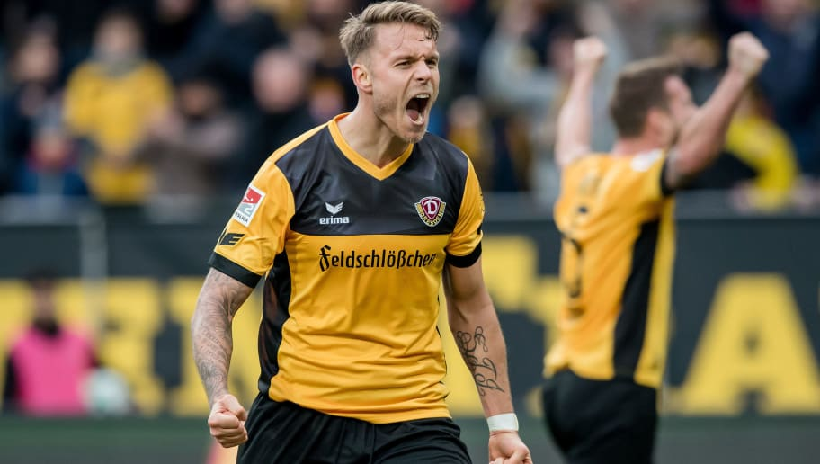 DRESDEN, GERMANY - FEBRUARY 18: Marcel Franke of Dresden celebrates after the Second Bundesliga match between SG Dynamo Dresden and SSV Jahn Regensburg at DDV-Stadion on February 18, 2018 in Dresden, Germany. (Photo by Thomas Eisenhuth/Bongarts/Getty Images)