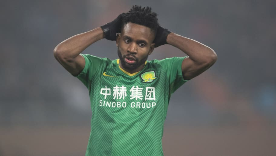 JINAN, CHINA - NOVEMBER 30: Bakambu #17 of Beijing Guoan in action during 2018 CFA Cup Final Round match between Shandong Luneng Taishan v Beijing Sinobo Guoan at Jinan Olympic Sports Centre Stadium on November 30, 2018 in Jinan, China. (Photo by Fred Lee/Getty Images)