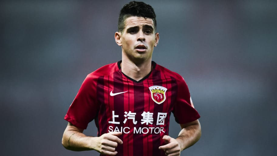 SHANGHAI, CHINA - NOVEMBER 07:  Oscar of Shanghai SIPG reacts during the 2018 Chinese Super League title match between Shanghai SIPG v Beijing Renhe at Shanghai Stadium on November 7, 2018 in Shanghai, China.  (Photo by DI YIN/Getty Images)