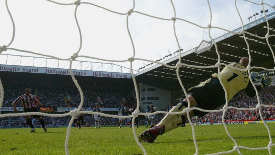 SHEFFIELD, UNITED KINGDOM - SEPTEMBER 09:  Brad Friedel of Blackburn saves David Unsworths penalty during the Barclays Premiership match between Sheffield United and Blackburn Rovers at Bramall Lane on September 9, 2006 in Sheffield, England.  (Photo by Richard Heathcote/Getty Images)
