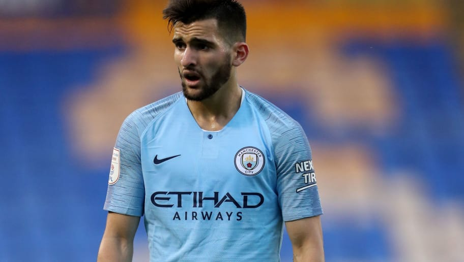 SHREWSBURY, ENGLAND - AUGUST 28: Benjamin Garre of Manchester City U21s during the Checkatrade Trophy match between Shrewsbury Town and Manchester City U21s at New Meadow on August 28, 2018 in Shrewsbury, England. (Photo by James Baylis - AMA/Getty Images)