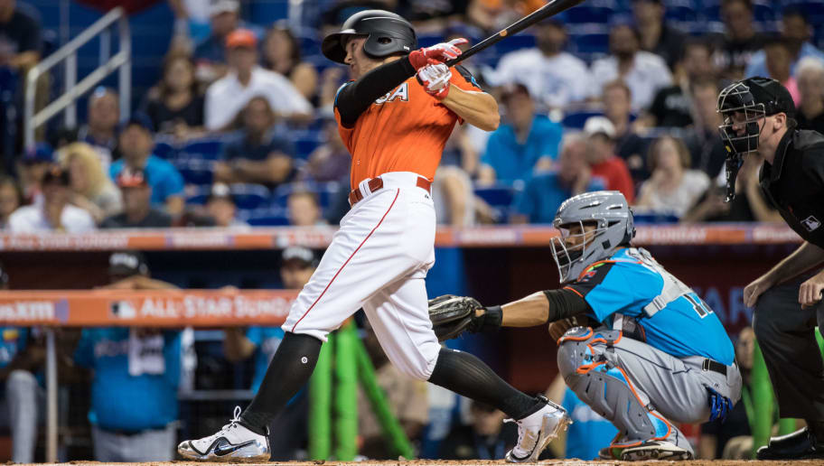 MIAMI, FL - JULY 9: Nick Senzel #13 of the U.S. Team and Cincinnati Reds bats during the SiriusXM All-Star Futures Game at Marlins Park on July 9, 2017 in Miami, Florida. (Photo by Brace Hemmelgarn/Minnesota Twins/Getty Images)