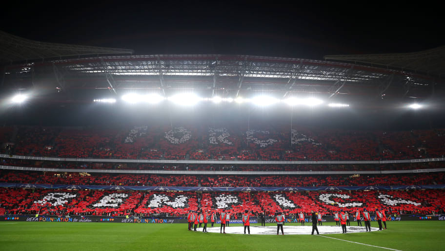 LISBON, PORTUGAL - FEBRUARY 14: SL Benfica fans display a mosaic ahead of the UEFA Champions League Round of 16 first leg match between  SL Benfica and Borussia Dortmund at Estadio da Luz on February 14, 2017 in Lisbon, Portugal. (Photo by Chris Brunskill Ltd/Getty Images)