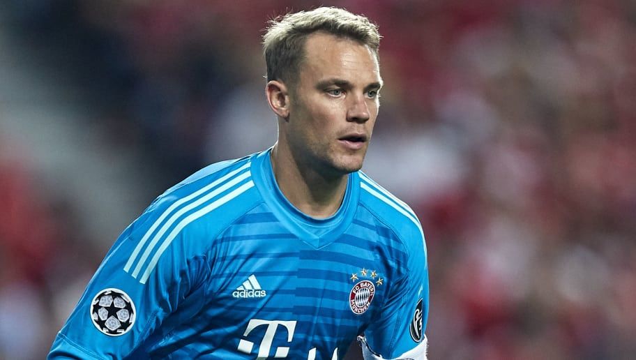 LISBON, PORTUGAL - SEPTEMBER 19:  Manuel Neuer of Bayern Munich looks on during the Group E match of the UEFA Champions League between SL Benfica and FC Bayern Muenchen at Estadio da Luz on September 19, 2018 in Lisbon, Portugal.  (Photo by Quality Sport Images/Getty Images)