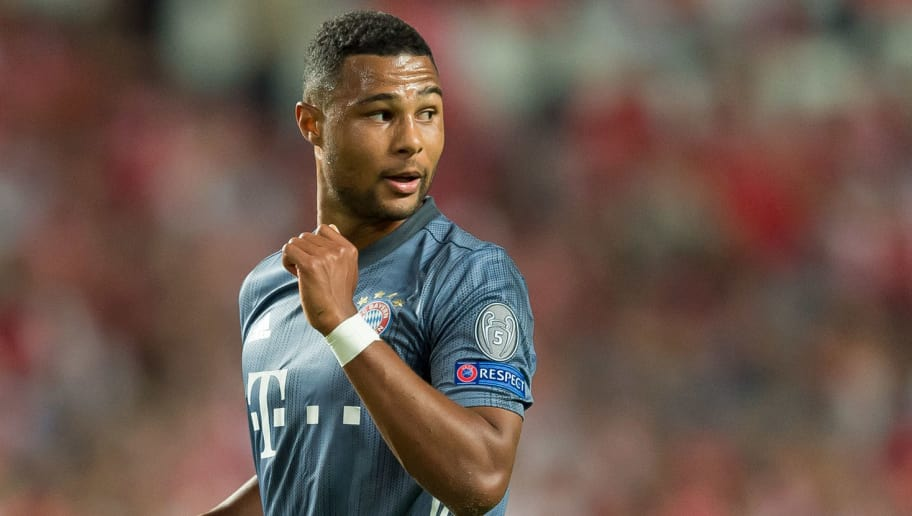 LISBON, PORTUGAL - SEPTEMBER 19: Serge Gnabry of Bayern Muenchen looks on during the UEFA Champions League Group E match between SL Benfica and FC Bayern Muenchen at Estadio da Luz on September 19, 2018 in Lisbon, Portugal. (Photo by TF-Images/Getty Images)