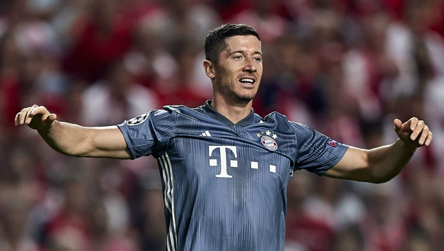 LISBON, PORTUGAL - SEPTEMBER 19:  Robert Lewandowski of Bayern Munich reacts during the Group E match of the UEFA Champions League between SL Benfica and FC Bayern Muenchen at Estadio da Luz on September 19, 2018 in Lisbon, Portugal.  (Photo by Quality Sport Images/Getty Images)