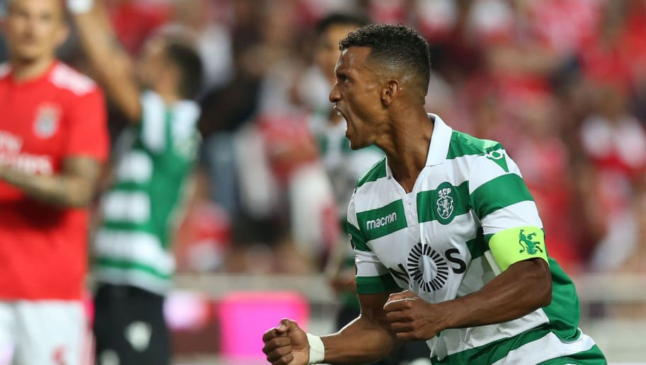 LISBON, PORTUGAL - AUGUST 25:  Nani of Sporting CP celebrates after scoring a goal during the Liga NOS match between SL Benfica and Sporting CP at Estadio da Luz on August 25, 2018 in Lisbon, Portugal.  (Photo by Gualter Fatia/Getty Images)