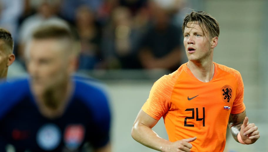 TRNAVA, SLOVAKIA - MAY 31: Wout Weghorst of Holland  during the  International Friendly match between Slovakia  v Holland  at the City Arena on May 31, 2018 in Trnava Slovakia (Photo by Eric Verhoeven/Soccrates/Getty Images)