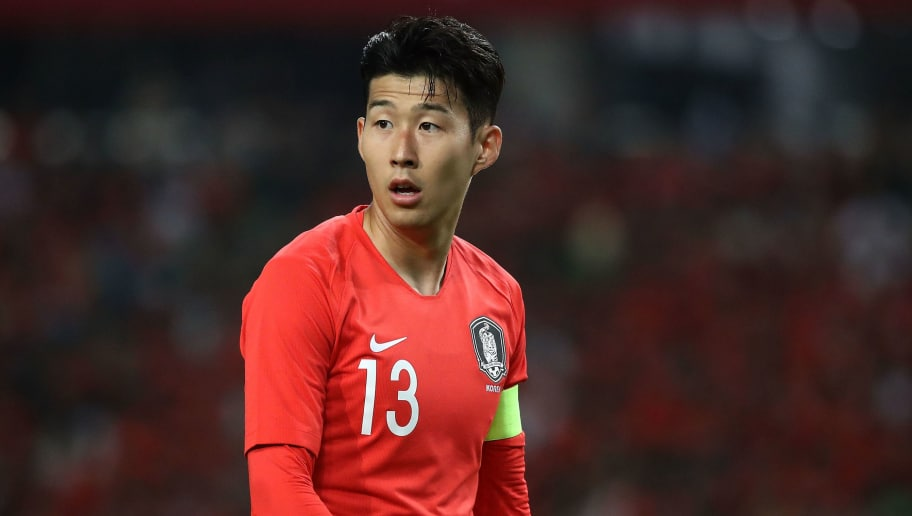 DAEGU, South Korea - MAY 28:  Son Heung-Min of South Korea in action during the international friendly match between South Korea and Honduras at Daegu World Cup Stadium on May 28, 2018 in Daegu, South Korea.  (Photo by Chung Sung-Jun/Getty Images)