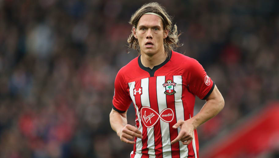 SOUTHAMPTON, ENGLAND - DECEMBER 16: Jannik Vestergaard of Southampton during the Premier League match between Southampton FC and Arsenal FC at St Mary's Stadium on December 16, 2018 in Southampton, United Kingdom. (Photo by James Williamson - AMA/Getty Images)