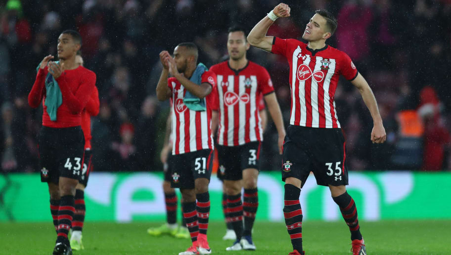 SOUTHAMPTON, ENGLAND - DECEMBER 16:  Jan Bednarek of Southampton celebrates victory after the Premier League match between Southampton FC and Arsenal FC at St Mary's Stadium on December 16, 2018 in Southampton, United Kingdom.  (Photo by Clive Rose/Getty Images)