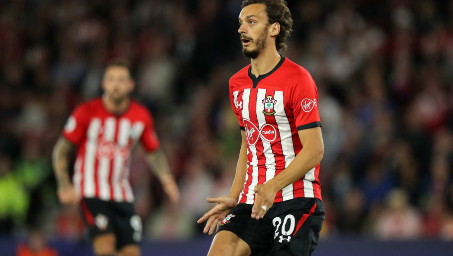 SOUTHAMPTON, ENGLAND - SEPTEMBER 17: Manolo Gabbiadini of Southampton during the Premier League match between Southampton FC and Brighton & Hove Albion at St Mary's Stadium on September 17, 2018 in Southampton, United Kingdom. (Photo by Matthew Ashton - AMA/Getty Images)