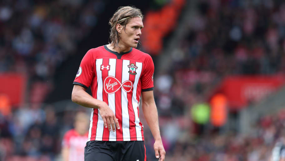 SOUTHAMPTON, ENGLAND - AUGUST 12: Jannik Vestergaard of Southampton during the Premier League match between Southampton FC and Burnley FC at St Mary's Stadium on August 12, 2018 in Southampton, United Kingdom. (Photo by James Williamson - AMA/Getty Images)