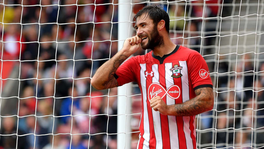 SOUTHAMPTON, ENGLAND - AUGUST 12:  Charlie Austin of Southampton reacts following a missed chance during the Premier League match between Southampton FC and Burnley FC at St Mary's Stadium on August 12, 2018 in Southampton, United Kingdom.  (Photo by Dan Mullan/Getty Images)
