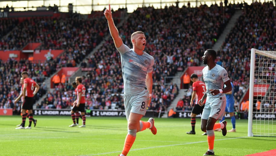 SOUTHAMPTON, ENGLAND - OCTOBER 07:  Ross Barkley of Chelsea celebrates after scoring during the Premier League match between Southampton FC and Chelsea FC at St Mary's Stadium on October 7, 2018 in Southampton, United Kingdom.  (Photo by Mike Hewitt/Getty Images)