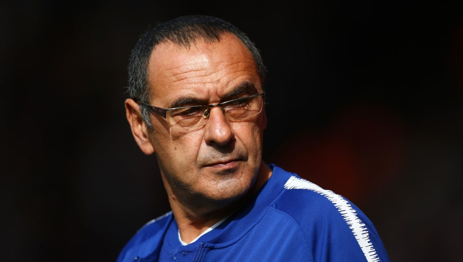 SOUTHAMPTON, ENGLAND - OCTOBER 07:  Maurizio Sarri, Manager of Chelsea looks on prior to the Premier League match between Southampton FC and Chelsea FC at St Mary's Stadium on October 7, 2018 in Southampton, United Kingdom.  (Photo by Jordan Mansfield/Getty Images)