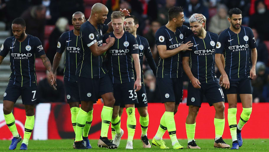 SOUTHAMPTON, ENGLAND - DECEMBER 30:  Sergio Aguero of Manchester City (2R) celebrates with team mates as he scores his team's third goal during the Premier League match between Southampton FC and Manchester City at St Mary's Stadium on December 29, 2018 in Southampton, United Kingdom.  (Photo by Dan Istitene/Getty Images)