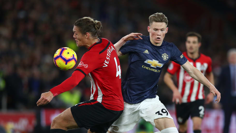 SOUTHAMPTON, ENGLAND - DECEMBER 01:  Jannik Vestergaard of Southampton is challenged by Scott McTominay of Manchester United during the Premier League match between Southampton FC and Manchester United at St Mary's Stadium on December 1, 2018 in Southampton, United Kingdom.  (Photo by Dan Istitene/Getty Images)