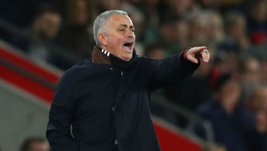 SOUTHAMPTON, ENGLAND - DECEMBER 01:  Jose Mourinho, Manager of Manchester United reacts during the Premier League match between Southampton FC and Manchester United at St Mary's Stadium on December 1, 2018 in Southampton, United Kingdom.  (Photo by Dan Istitene/Getty Images)