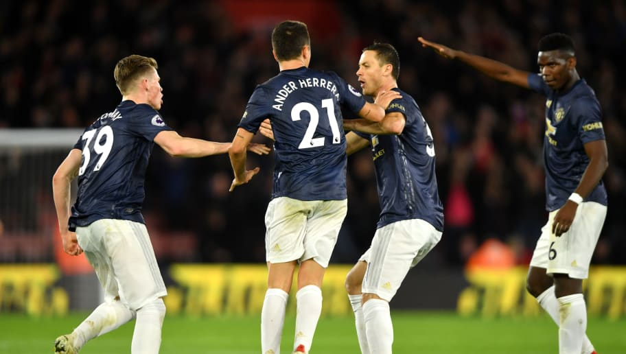 SOUTHAMPTON, ENGLAND - DECEMBER 01:  Ander Herrera of Manchester United celebrates with teammates after scoring his team's second goal during the Premier League match between Southampton FC and Manchester United at St Mary's Stadium on December 1, 2018 in Southampton, United Kingdom.  (Photo by Mike Hewitt/Getty Images)
