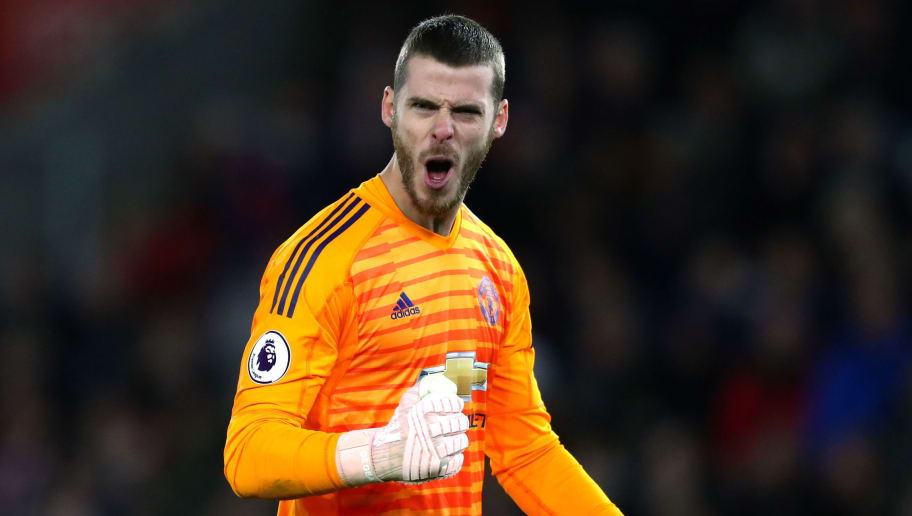 SOUTHAMPTON, ENGLAND - DECEMBER 01:  David De Gea of Manchester United celebrates after teammate Ander Herrera scores their team's second goal during the Premier League match between Southampton FC and Manchester United at St Mary's Stadium on December 1, 2018 in Southampton, United Kingdom.  (Photo by Dan Istitene/Getty Images)