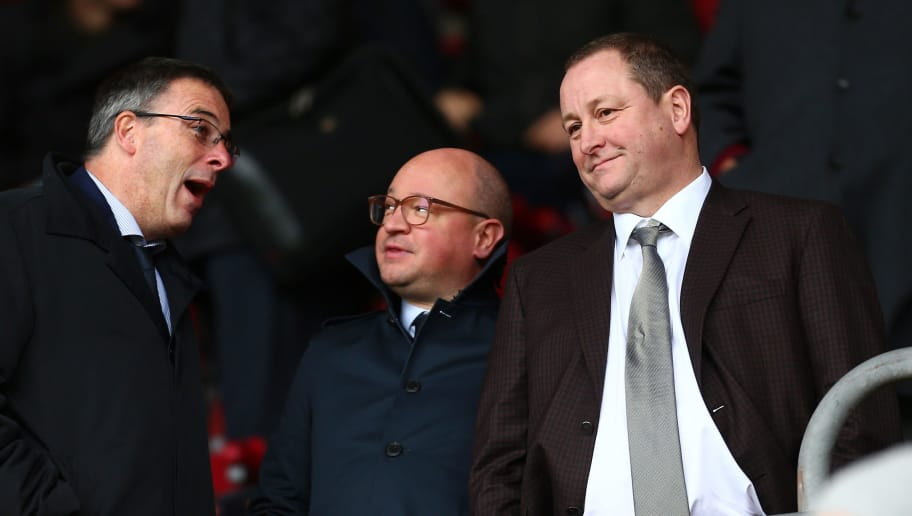 SOUTHAMPTON, ENGLAND - OCTOBER 27:  Mike Ashley, Newcastle United owner is seen in the stands prior to the Premier League match between Southampton FC and Newcastle United at St Mary's Stadium on October 27, 2018 in Southampton, United Kingdom.  (Photo by Jordan Mansfield/Getty Images)