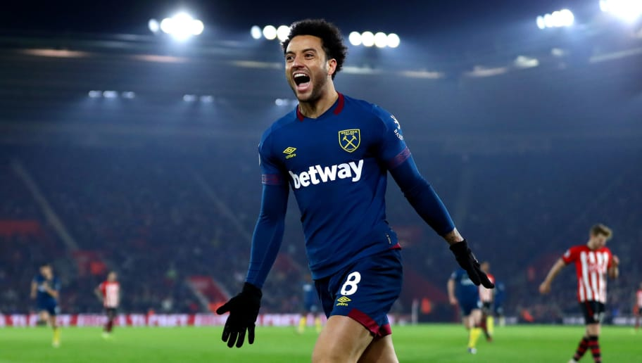 SOUTHAMPTON, ENGLAND - DECEMBER 27:  Felipe Anderson of West Ham United celebrates after he scores his sides second goal during the Premier League match between Southampton FC and West Ham United at St Mary's Stadium on December 27, 2018 in Southampton, United Kingdom.  (Photo by Michael Steele/Getty Images)