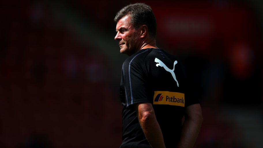 SOUTHAMPTON, ENGLAND - AUGUST 04:  Dieter Hecking, manager of Borussia Monchengladbach looks on prior to the pre-season friendly match between Southampton v Borussia Monchengladbach at St Mary's Stadium on August 4, 2018 in Southampton, England.  (Photo by Jordan Mansfield/Getty Images)