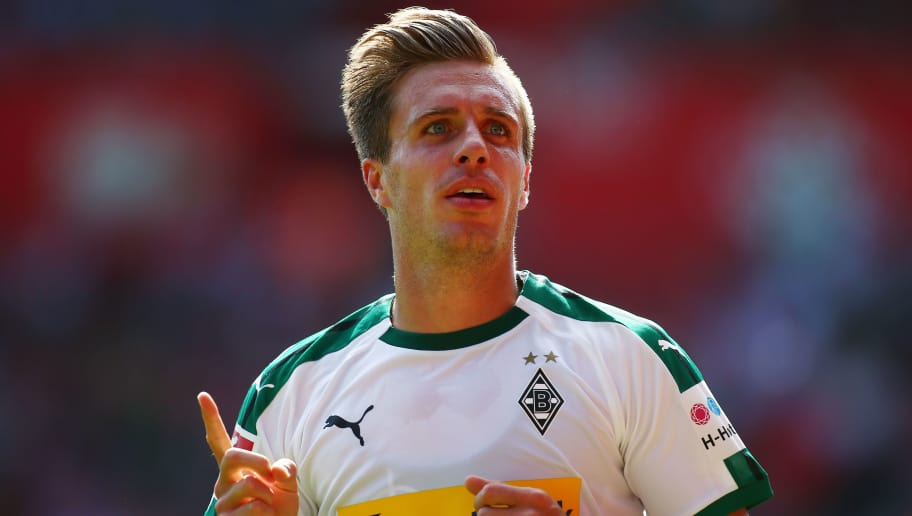 SOUTHAMPTON, ENGLAND - AUGUST 04:  Patrick Herrmann of Borussia Monchengladbach celebrates scoring his sides third goal during the pre-season friendly match between Southampton and Borussia Monchengladbach at St Mary's Stadium on August 4, 2018 in Southampton, England.  (Photo by Jordan Mansfield/Getty Images)