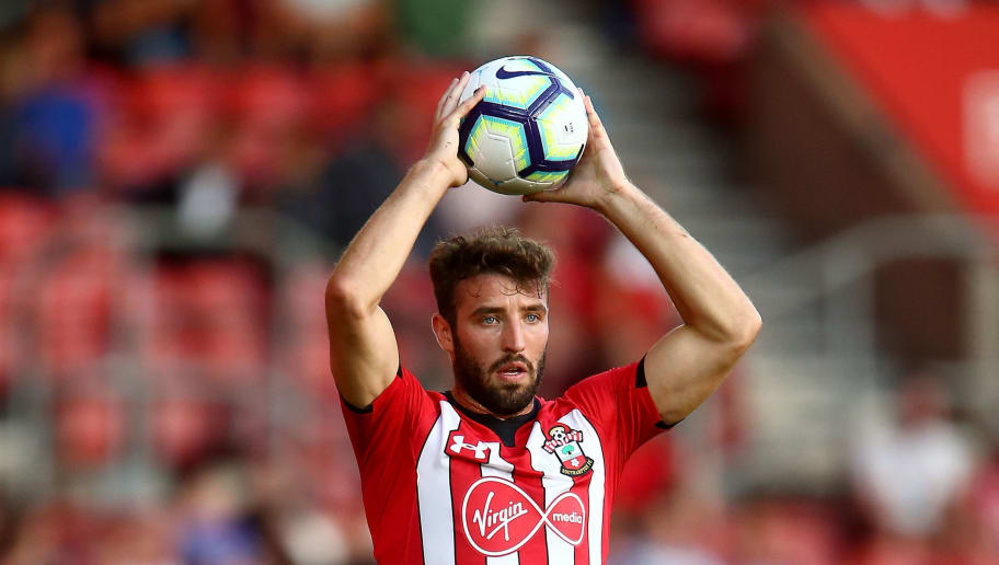 SOUTHAMPTON, ENGLAND - AUGUST 01:  Sam McQueen of Southampton takes a throw-in during the Pre-Season Friendly match between Southampton and Celta Vigo at St Mary's Stadium on August 1, 2018 in Southampton, England.  (Photo by Jordan Mansfield/Getty Images)