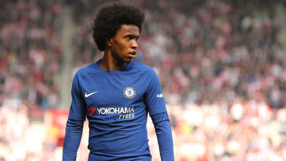 SOUTHAMPTON, ENGLAND - APRIL 14: Willian of Chelsea during the Premier League match between Southampton and Chelsea at St Mary's Stadium on April 14, 2018 in Southampton, England. (Photo by James Williamson - AMA/Getty Images)