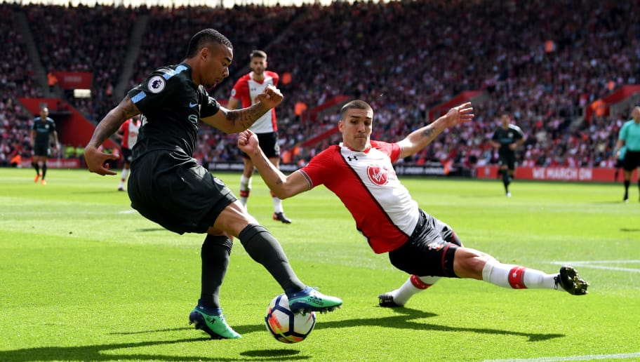 SOUTHAMPTON, ENGLAND - MAY 13:  Gabriel Jesus of Manchester City controls the ball as Oriol Romeu of Southampton tries to block during the Premier League match between Southampton and Manchester City at St Mary's Stadium on May 13, 2018 in Southampton, England.  (Photo by Mike Hewitt/Getty Images)