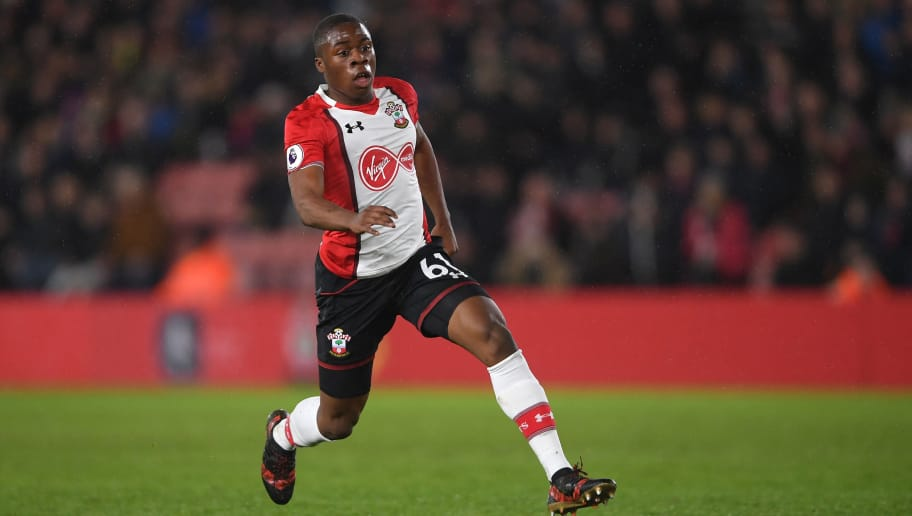 SOUTHAMPTON, ENGLAND - JANUARY 21:  Michael Obafemi of Southampton in action during the Premier League match between Southampton and Tottenham Hotspur at St Mary's Stadium on January 21, 2018 in Southampton, England.  (Photo by Mike Hewitt/Getty Images)