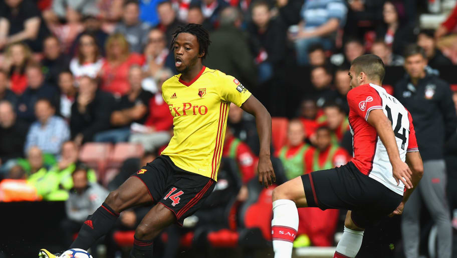 SOUTHAMPTON, ENGLAND - SEPTEMBER 09:  Nathaniel Chalobah of Watford and Oriol Romeu of Southampton in action during the Premier League match between Southampton and Watford at St Mary's Stadium on September 9, 2017 in Southampton, England.  (Photo by Tony Marshall/Getty Images)