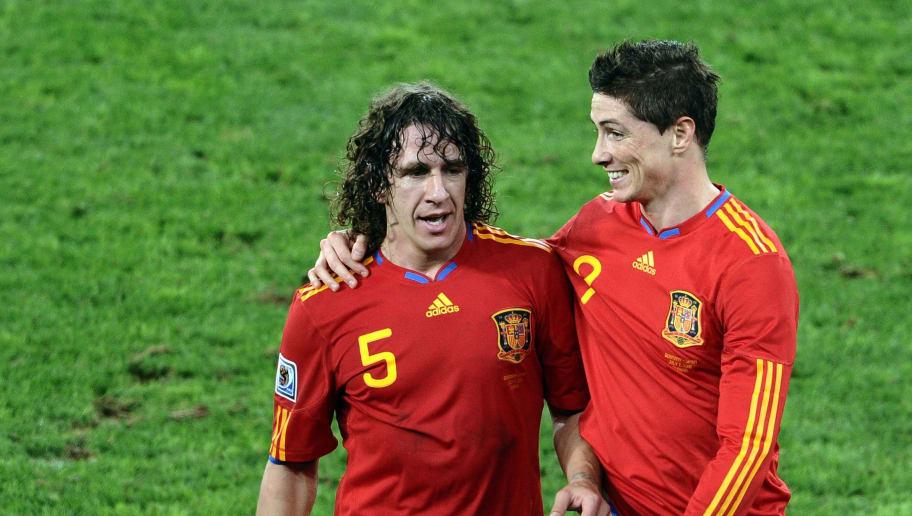 Spain's defender Carles Puyol and Spain'