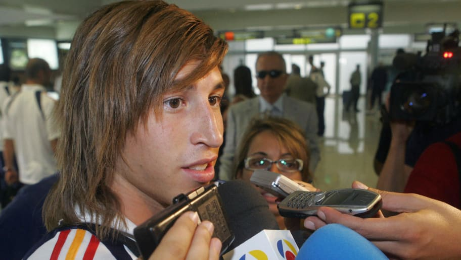 MADRID, Spain:  Spain's defender Sergio Ramos speaks to journalists on arrival in Santander, 01 September 2005 for a friendly international football match against Canada. Real Madrid signed Sevilla defender Ramos to an eight-year contract only minutes before the deadline for offseason transfers on Wednesday, clinching the deal after paying the 27 million euro (US$33 million) buyout clause in Ramos' contract, making the 19-year-old Spain rightback the third most expensive transfer of the summer. AFP PHOTO/NACHO CUBERO  (Photo credit should read NACHO CUBERO/AFP/Getty Images)