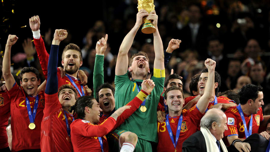 Spain's goalkeeper Iker Casillas holds t
