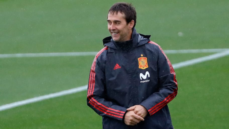MADRID, SPAIN - MAY 28: Head coach Julen Lopetegui of Spain laughs during a training session on May 28, 2018 in Madrid, Spain. (Photo by TF-Images/Getty Images)