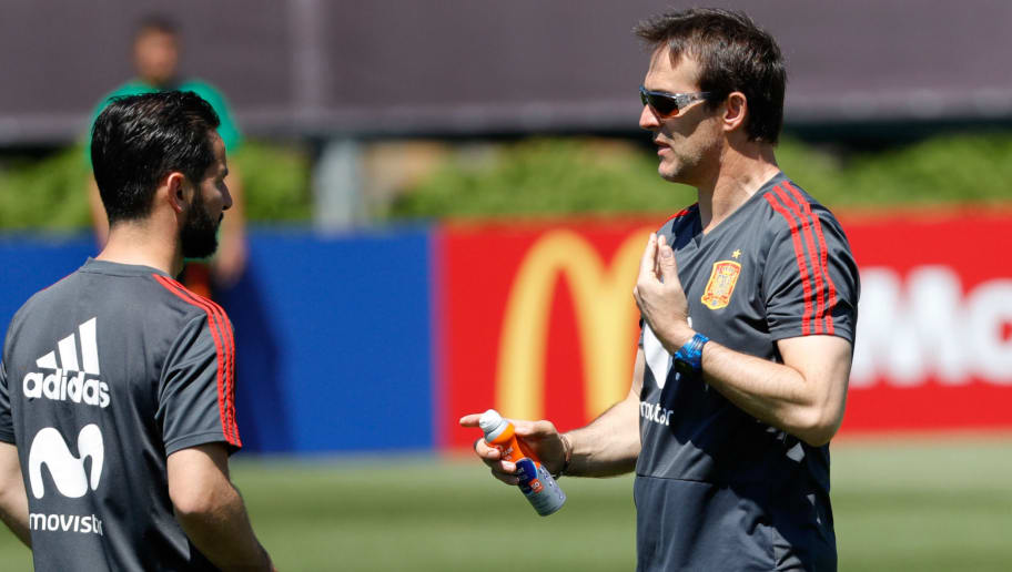 KRASNODAR, RUSSIA - JUNE 12: Head coach Julen Lopetegui of Spain gestures during a training session on June 12, 2018 in Krasnodar, Russia. (Photo by TF-Images/Getty Images)
