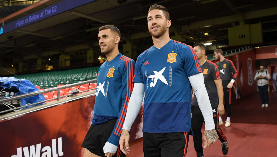 CARDIFF, WALES - OCTOBER 10:  Sergio Ramos of Spain (right) walks onto the pitch ahead of a training session whilst under a closed roof during a Spain training session at Principality Stadium on October 10, 2018 in Cardiff, Wales.  (Photo by Stu Forster/Getty Images)
